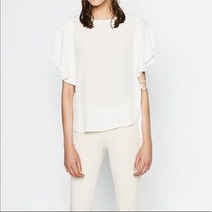 Zara Ruffle Sleeve White Blouse